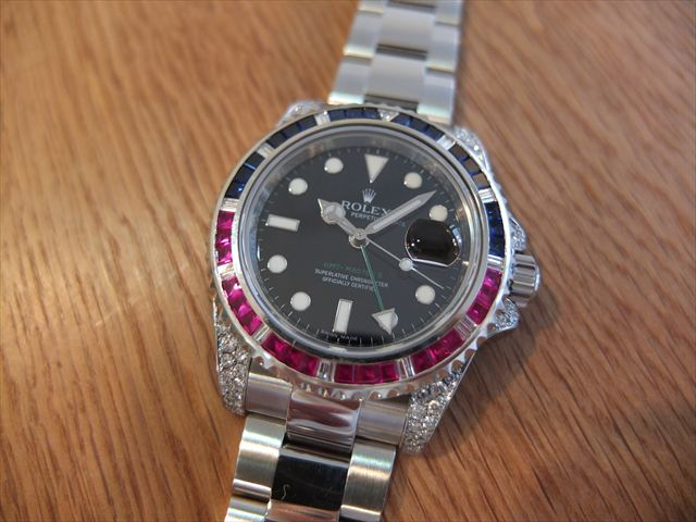 super popular ff0e6 224e5 ロレックス GMTマスター Ref.116710LN アフターダイヤ ...