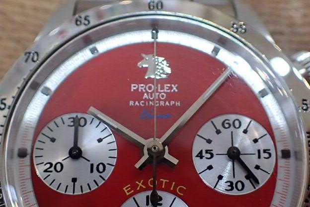 PRO-LEX レーシングラフ Dino レッド文字盤 ステンレスベゼル