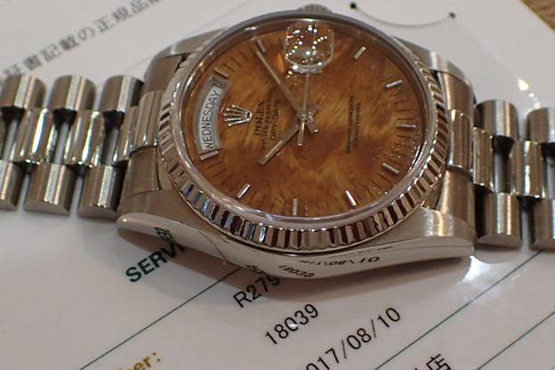 ロレックス  デイデイト ウッド 18KWG R番 Ref.18039